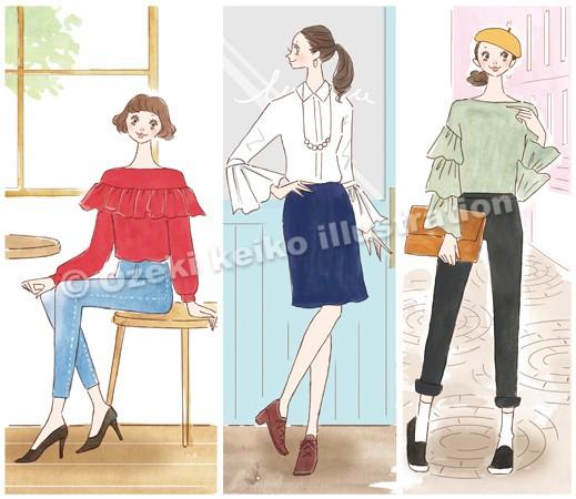 フリルブラウスファッション女性イラスト