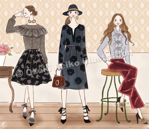 ダークロマンティックファッション女性イラスト