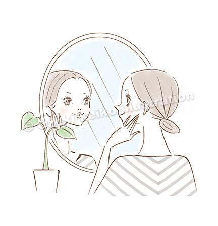 鏡を見る女性イラスト