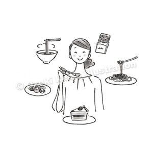 ケーキを食べる女性イラスト
