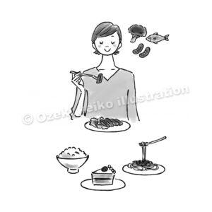 お肉を食べる女性イラスト