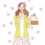 秋ファッションを楽しむ女性イラスト