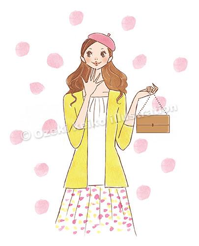 ベレー帽をかぶった女性イラスト