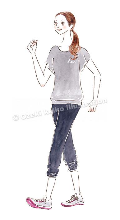 歩く女性イラスト