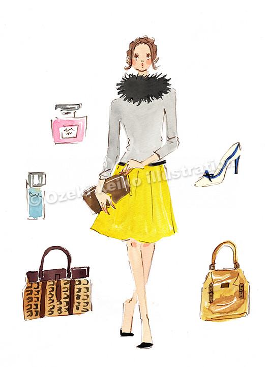 ショッピングをする女性イラスト
