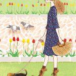 ペットと女性イラスト