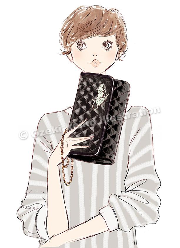 クラッチバッグを持った女性イラスト