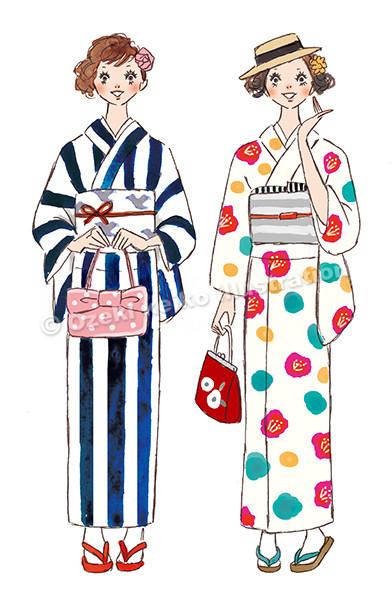 着物を着た女性イラスト