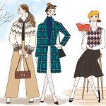 ヴィンテージファッション女性イラスト