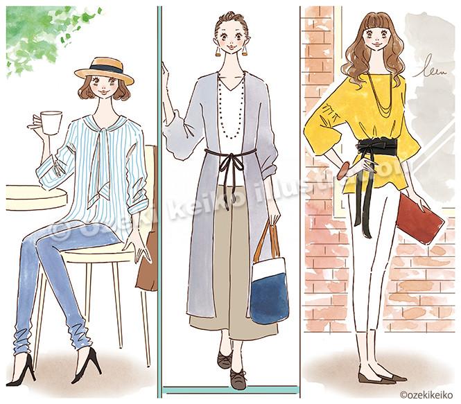 りぼんファッション女性イラスト