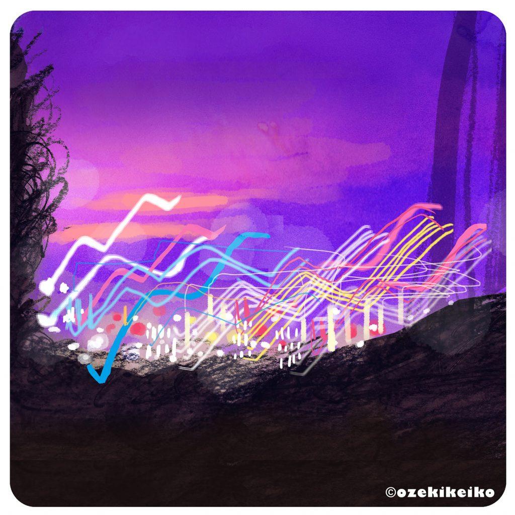 夜景 水彩タッチ