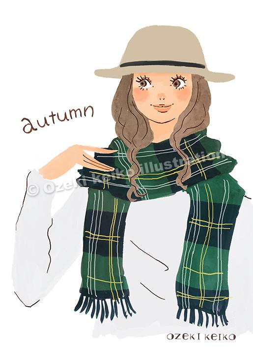 帽子をかぶった女性イラスト