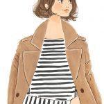 コートを羽織る女性イラスト