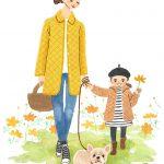 犬の散歩をする親子イラスト